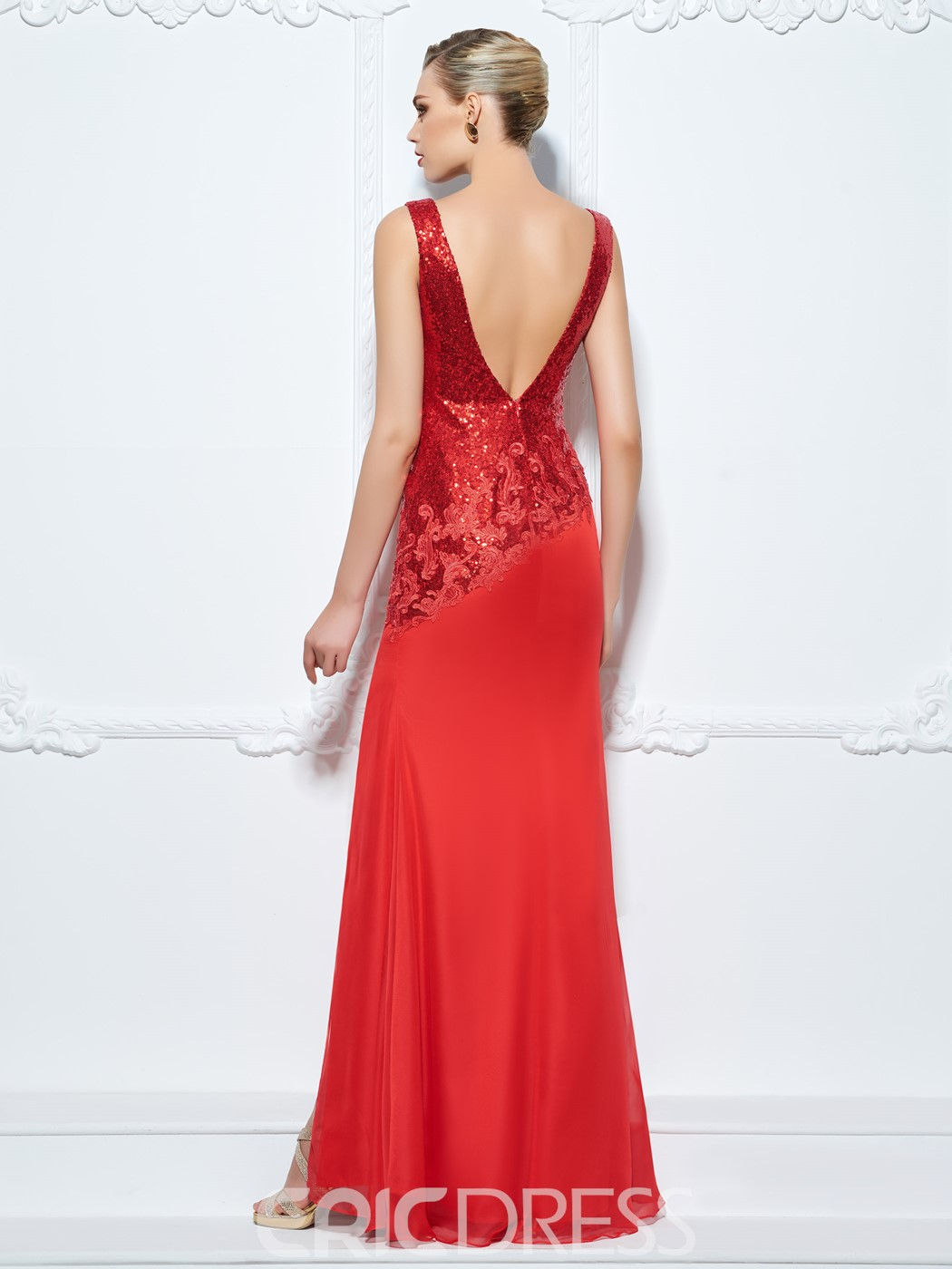 Ericdress Sheath V-Neck Appliques Sequins Split-Front Evening Dress