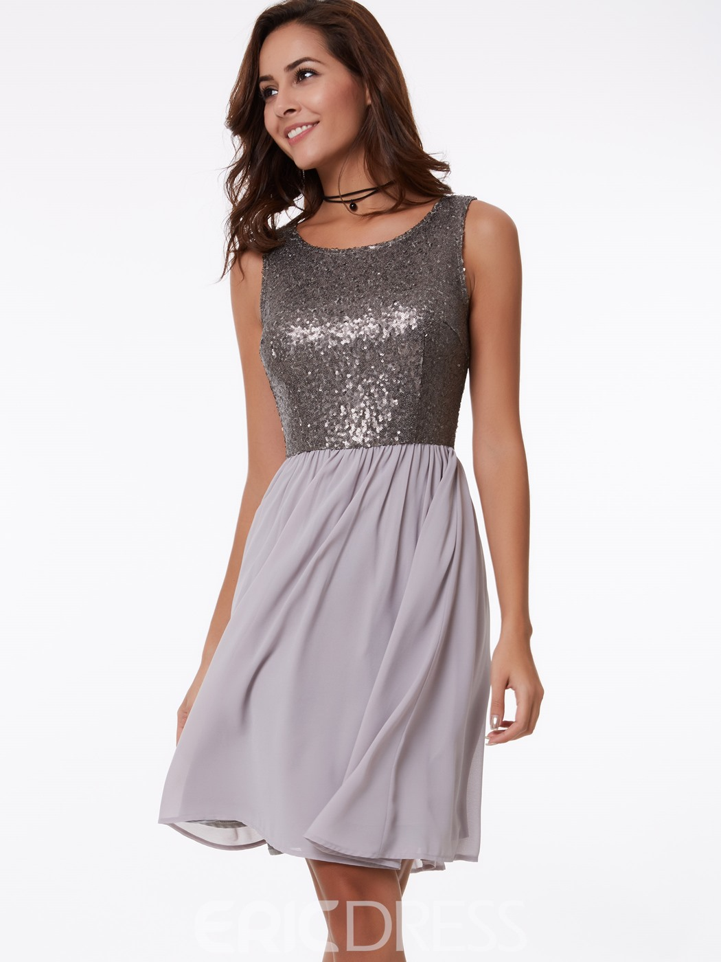 Ericdress A-Line Round Sequins Knee-Length Homecoming Dress