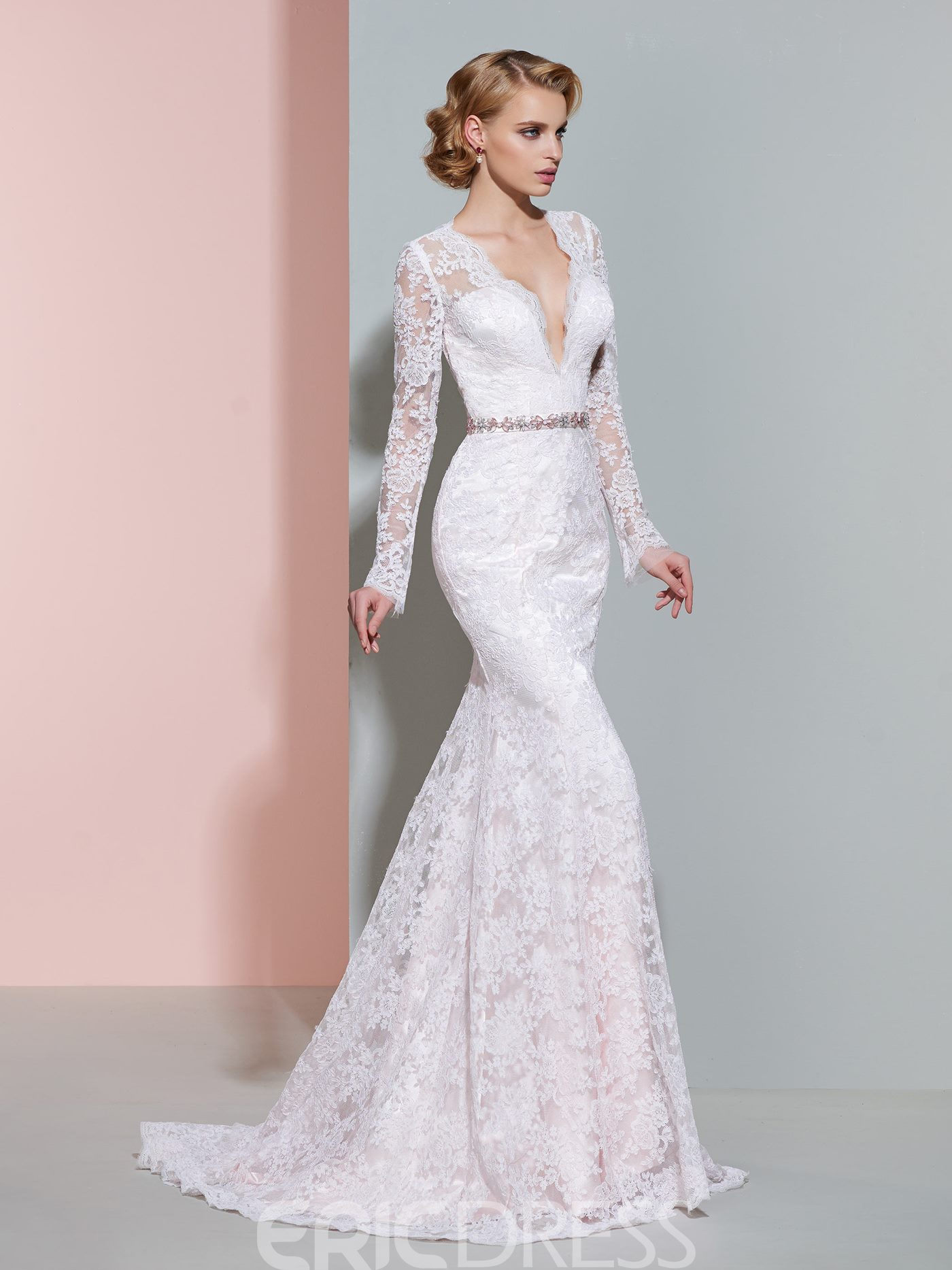 Ericdress Charming V Neck Long Sleeves Mermaid Lace Wedding Dress