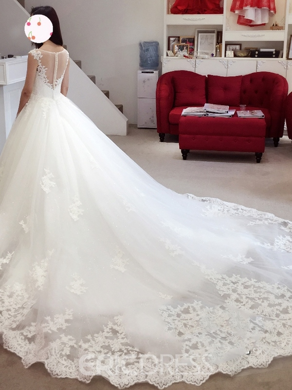 Ericdress Ball Gown Backless Illusion Neckline Appliques Wedding Dress