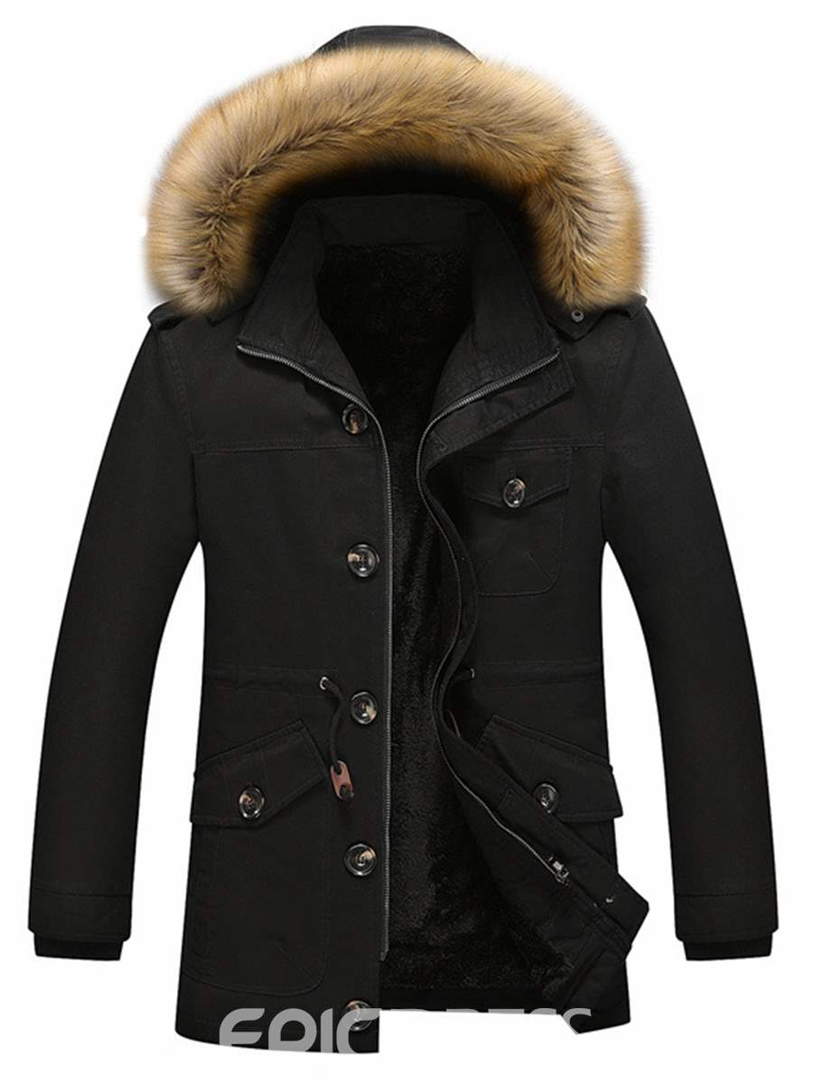 Ericdress Fur Collar with Velvet Thicken Hooded Warm Men's Winter Coat