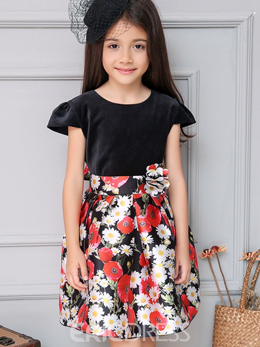 Ericdress Puff Sleeve Bow Belt Floral Printed Pleated Girls Dress