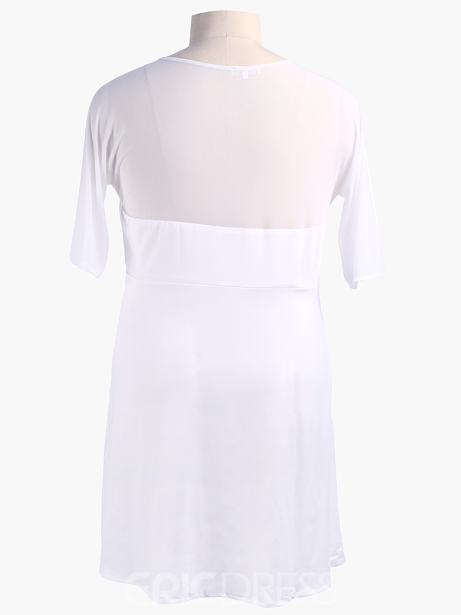 Ericdress Sexy V-Neck Pleated See-Through Patchwork Casual Dress