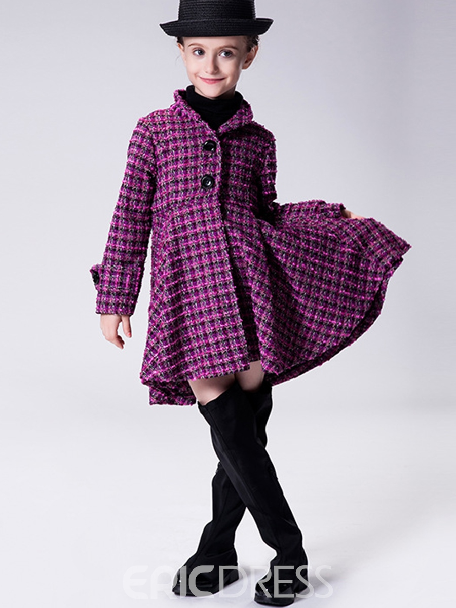 Ericdress Wave Lattice Pleated Button Girls Outerwears