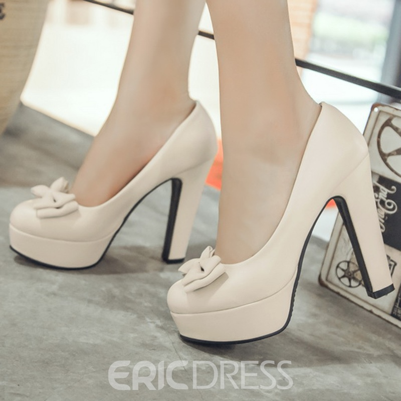 Ericdress Pretty Bowtie Platform Round Toe Chunky Pumps