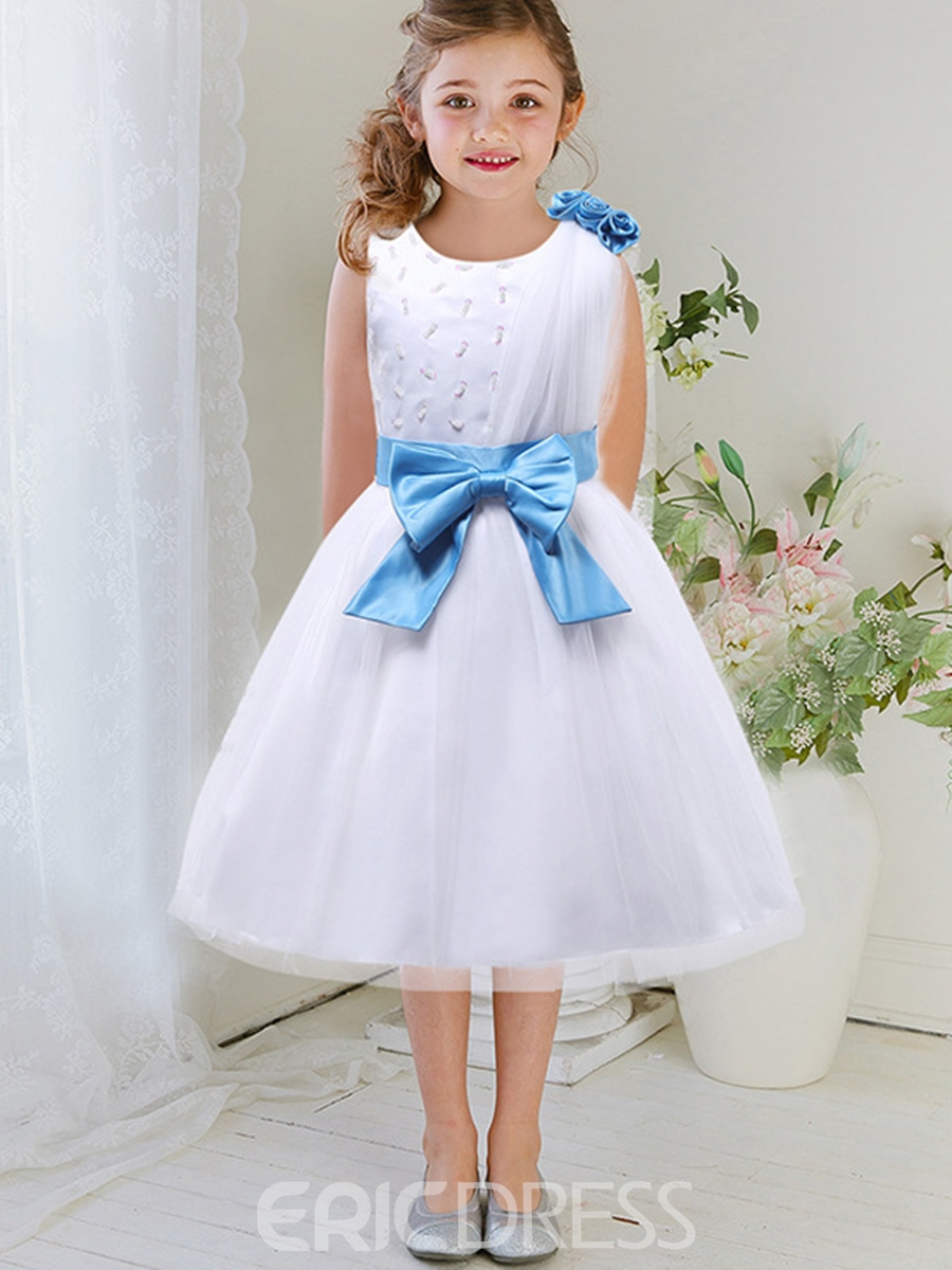 Ericdress Beaded Mesh Patchwork Dimensional Flower Girls Dress