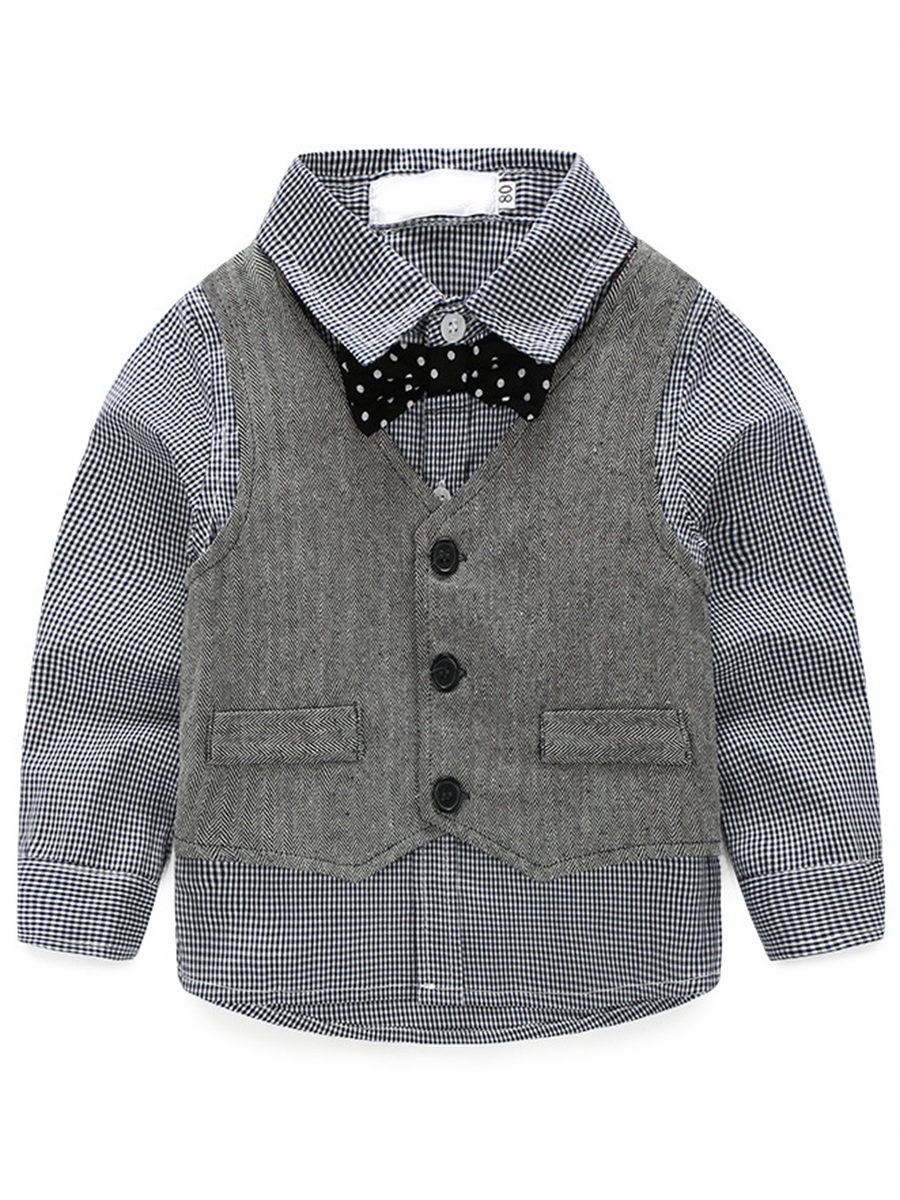 Ericdress Preppy Chic Stripe Shirt Vest Pants with Bow Tie 4-Pcs Boys Outfit