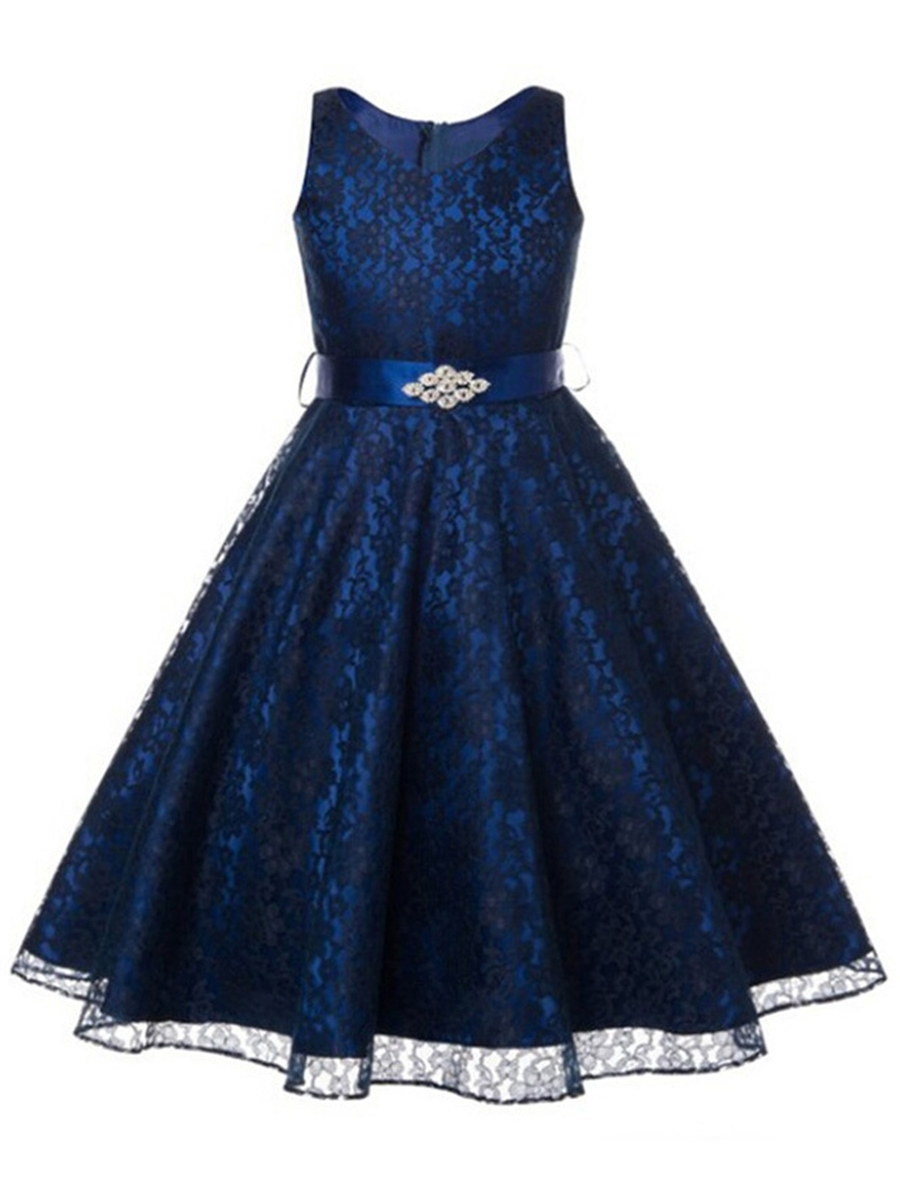 Ericdress Lace Floral Lace-Up Diamond Girls Dress