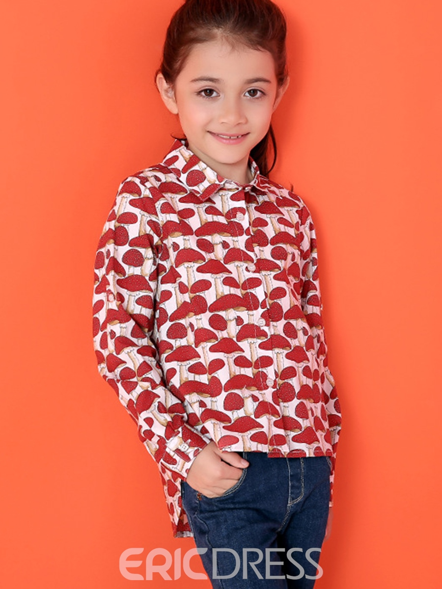 Ericdress Cotton Mushroom Printed Lapel Collar Girls Tops