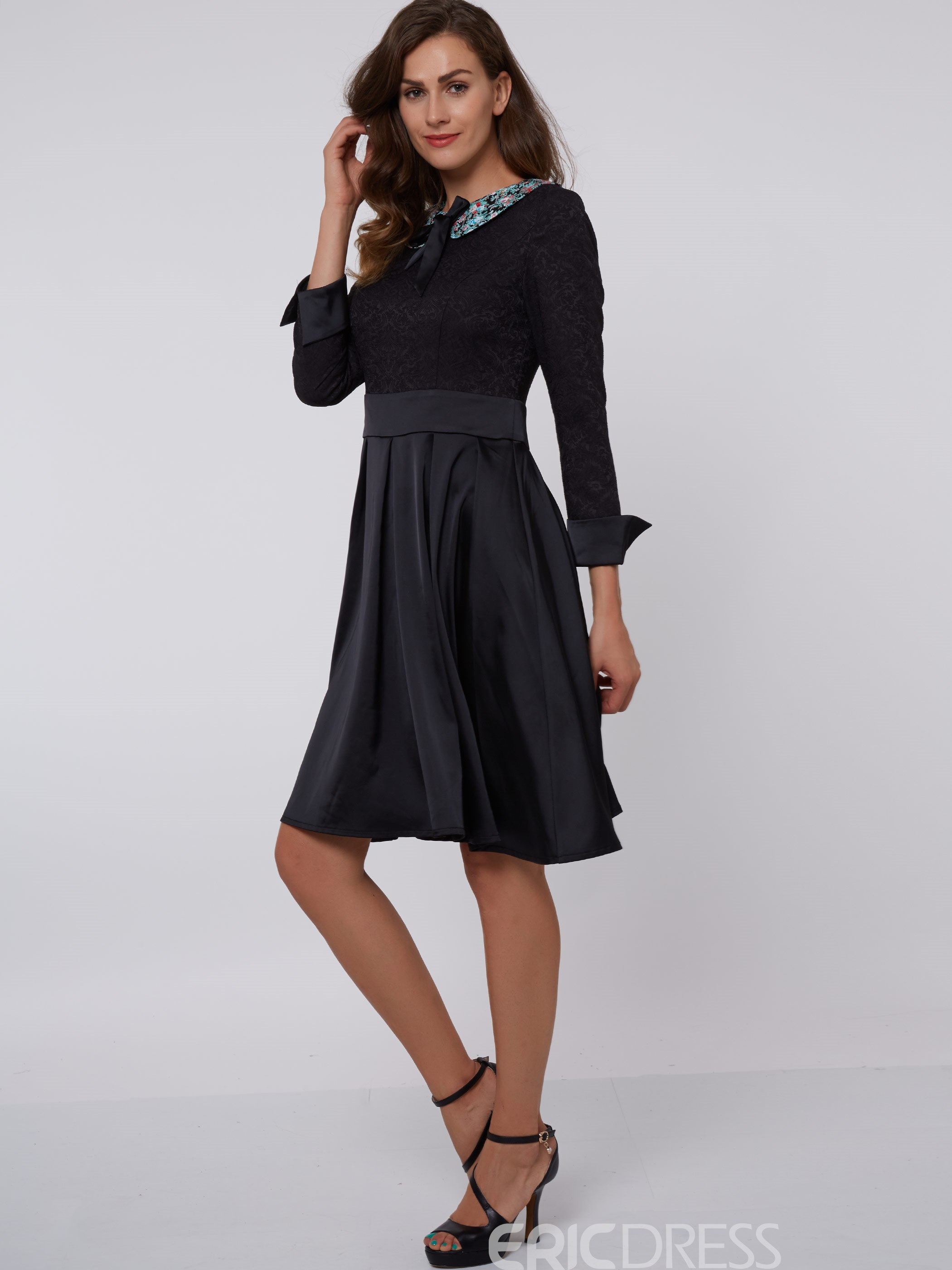 Ericdress Pullover Lapel Cotton Blends Women's Skater Dress