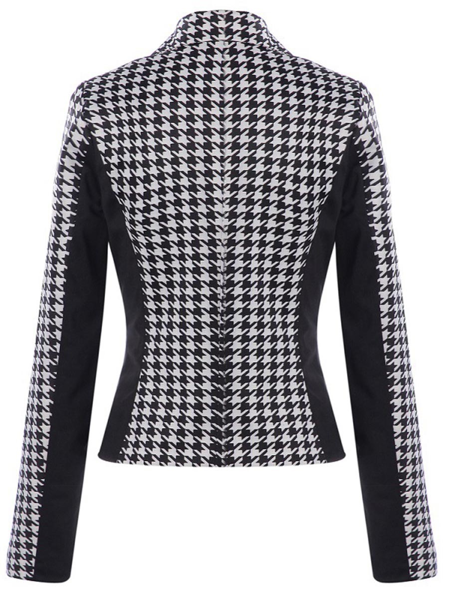 Ericdress Color Block Houndstooth Blazer