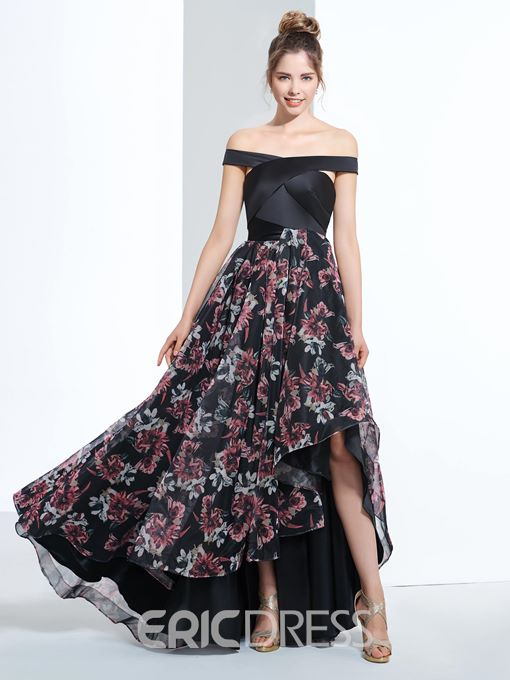 Ericdress A-Line Off-the-Shoulder Cap Sleeves Printed Prom Dress