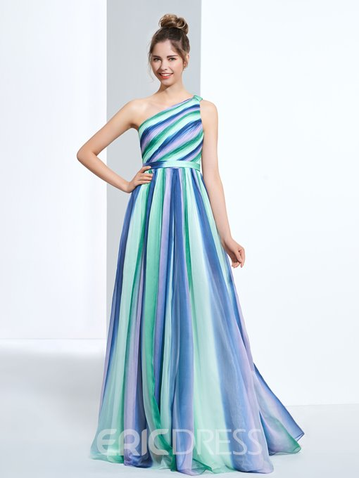 Ericdress A-Line One Shoulder Pleats Printed Prom Dress