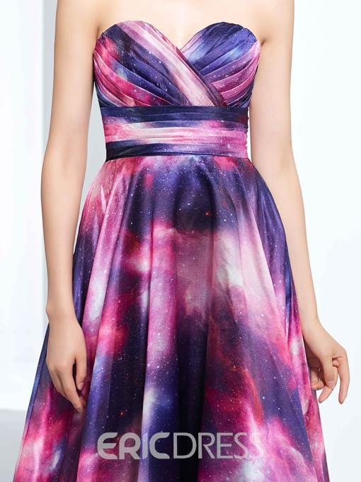 Ericdress A-Line Sweetheart Printed Ruched Floor-Length Prom Dress
