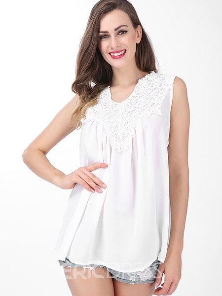 Ericdress Slim Lace Patchwork Plus Size Blouse