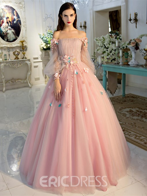 Ericdress Off-the-Shoulder Long Sleeves Ball Quinceanera Dress With Beadings