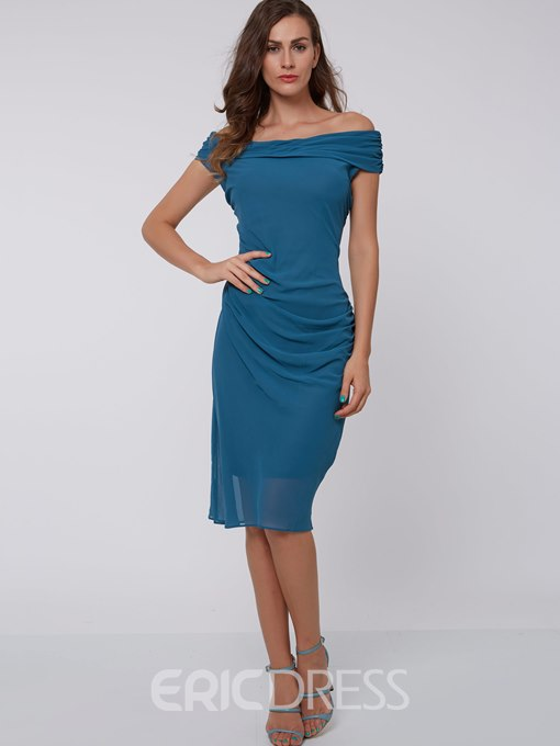 Ericdress Solid Color Pleated Slash Neck Sheath Dress