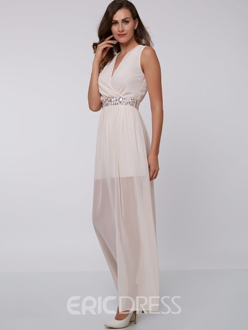 Ericdress A-Line V-Neck Beading Ankle-Length Evening Dress