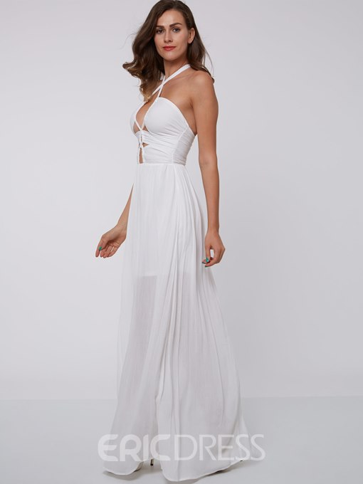 Ericdress A-Line Halter Hollow Floor-Length Evening Dress