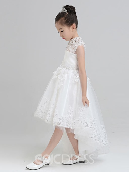 Ericdress Beautiful High Neck Asymmetry Princess Flower Girl Dress