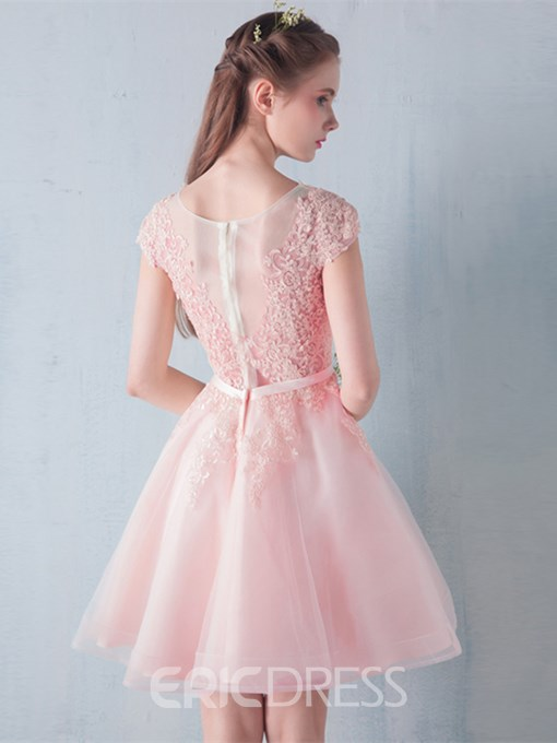 Ericdress A-Line Scoop Cap Sleeves Bowknot Lace Sashes Homecoming Dress