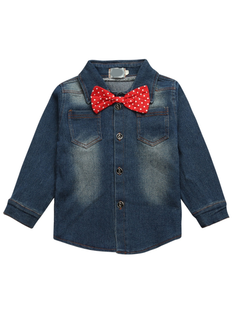 Ericdress Denim Worn Bowknot Appliques Color Block Boys Outfits