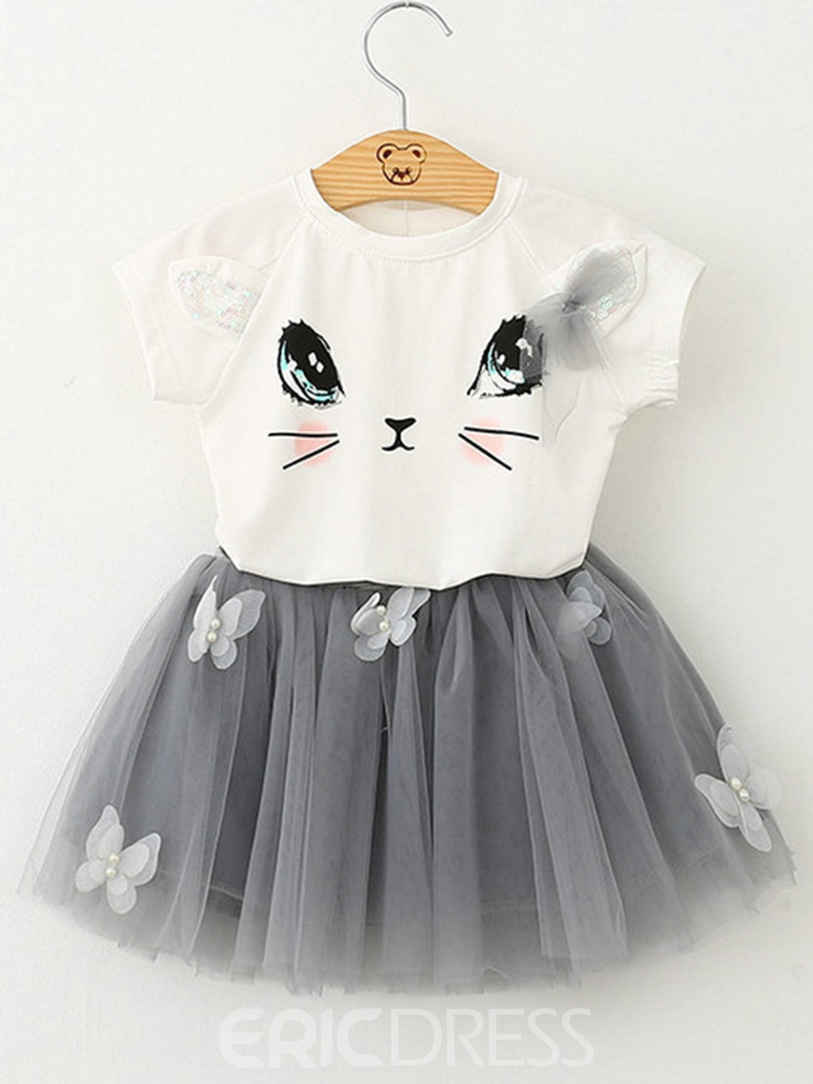 Ericdress Cat Printed Mesh Floral Appliques Girls Outfits