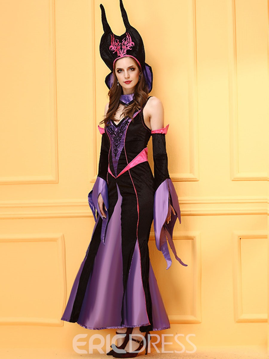 Ericdress Color Block Patchwork Witch Cosplay Halloween Costume