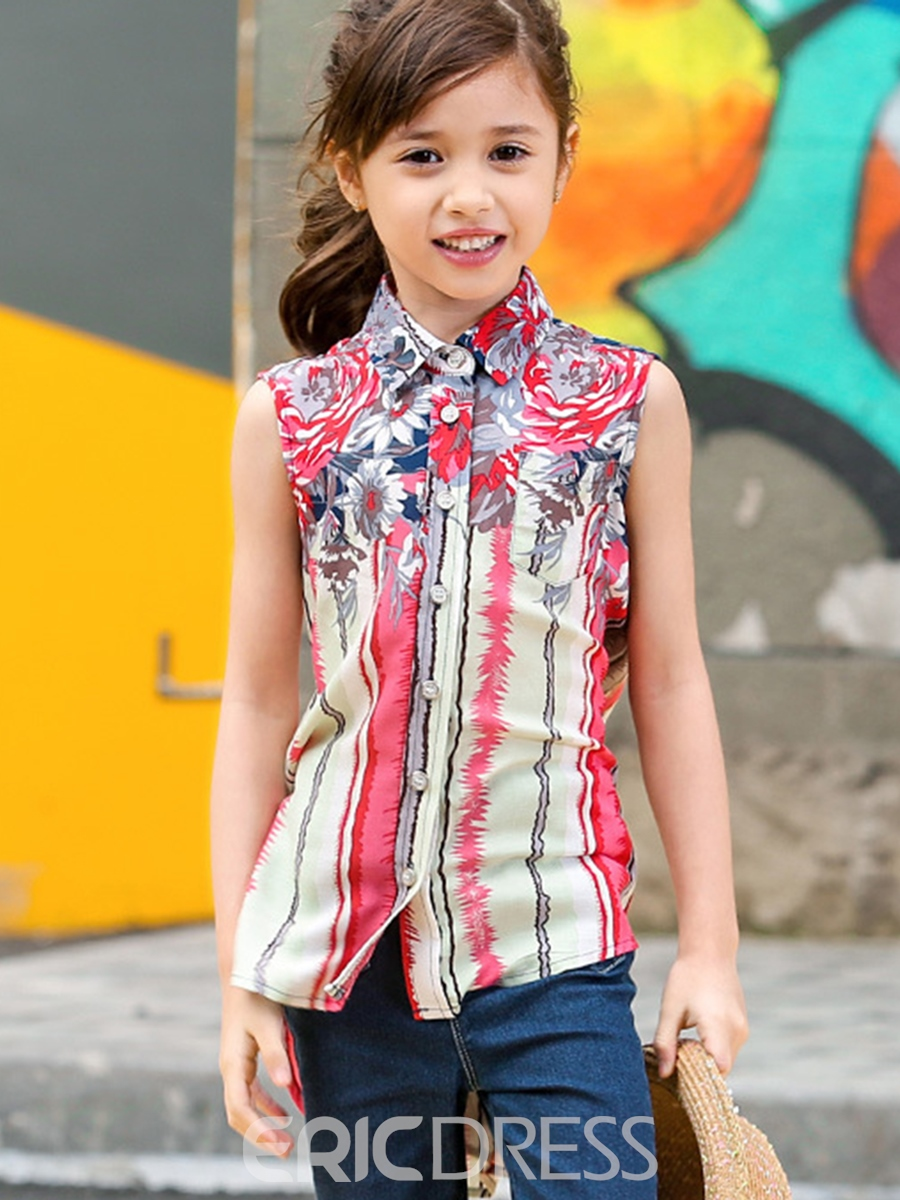 Ericdress Print Patchwork Chiffon Lapel Collar Girls Tops