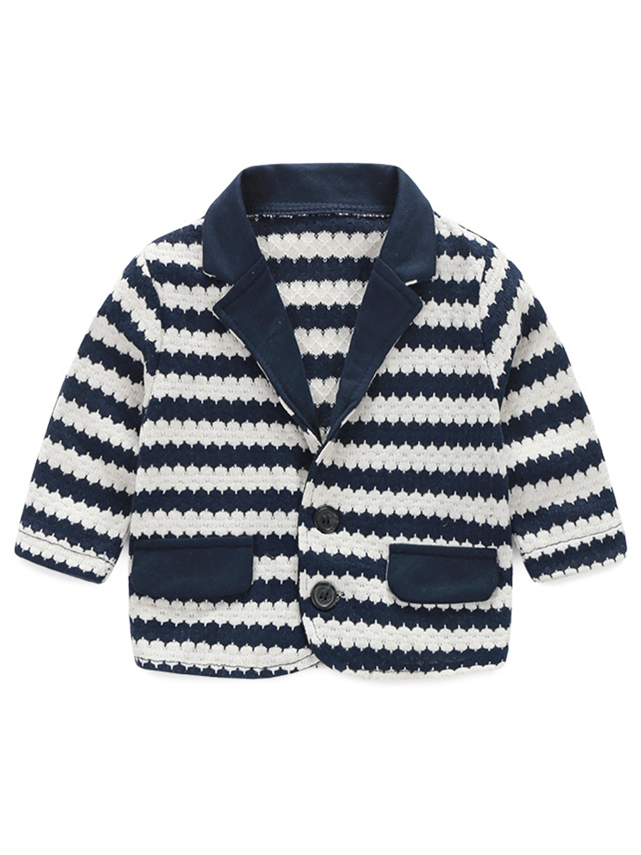 Ericdress Strips Lapel Collar Bow Patehwork Three-Piece Boys Outfit