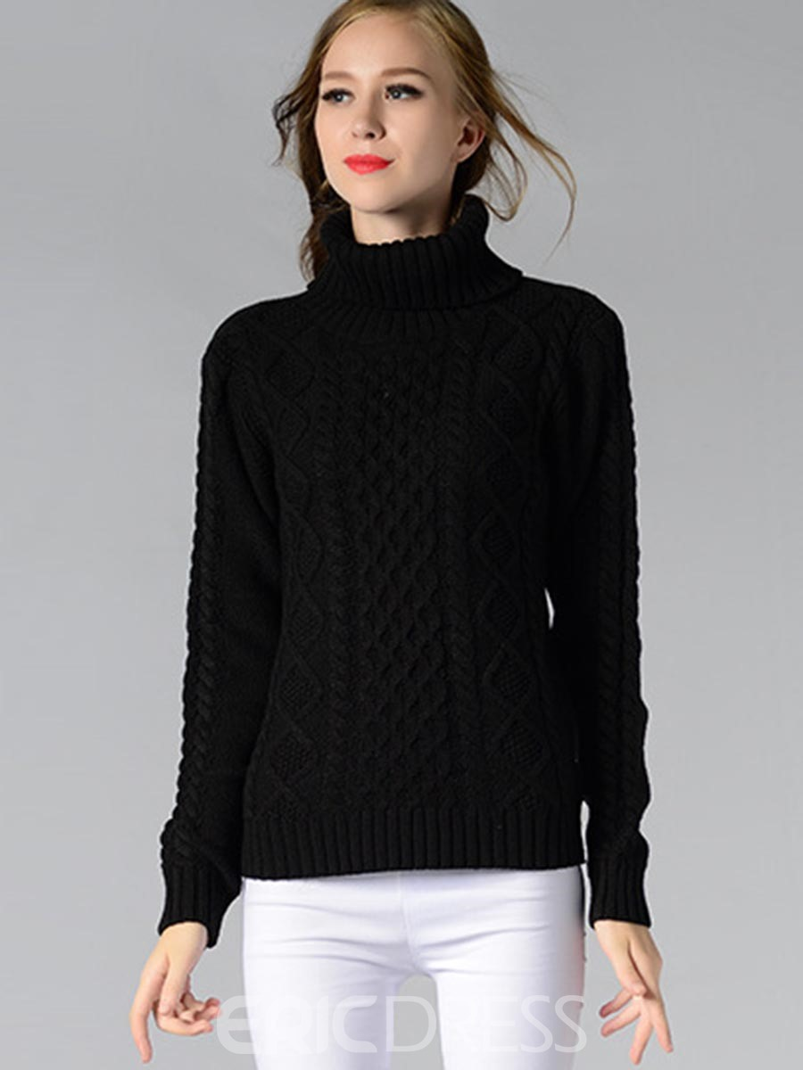 Ericdress Solid Color Loose Turtleneck Knitwear
