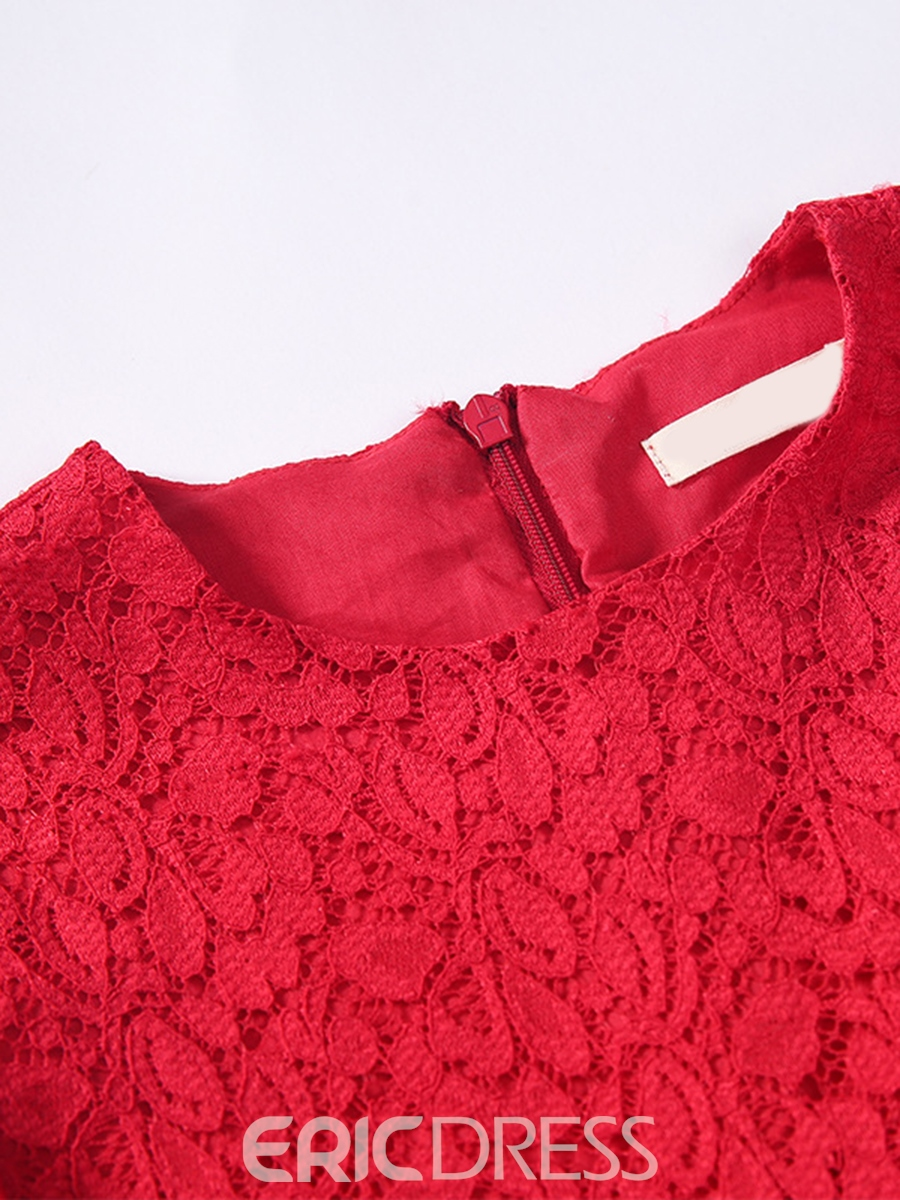 Ericdress Lace Hollow Plain Tee Pleated Girls Dress