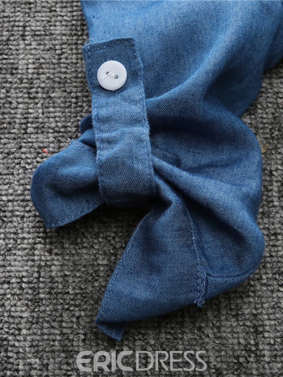 Ericdress Denim Lapel Collar Color Block Two- Piece Boys Outfits