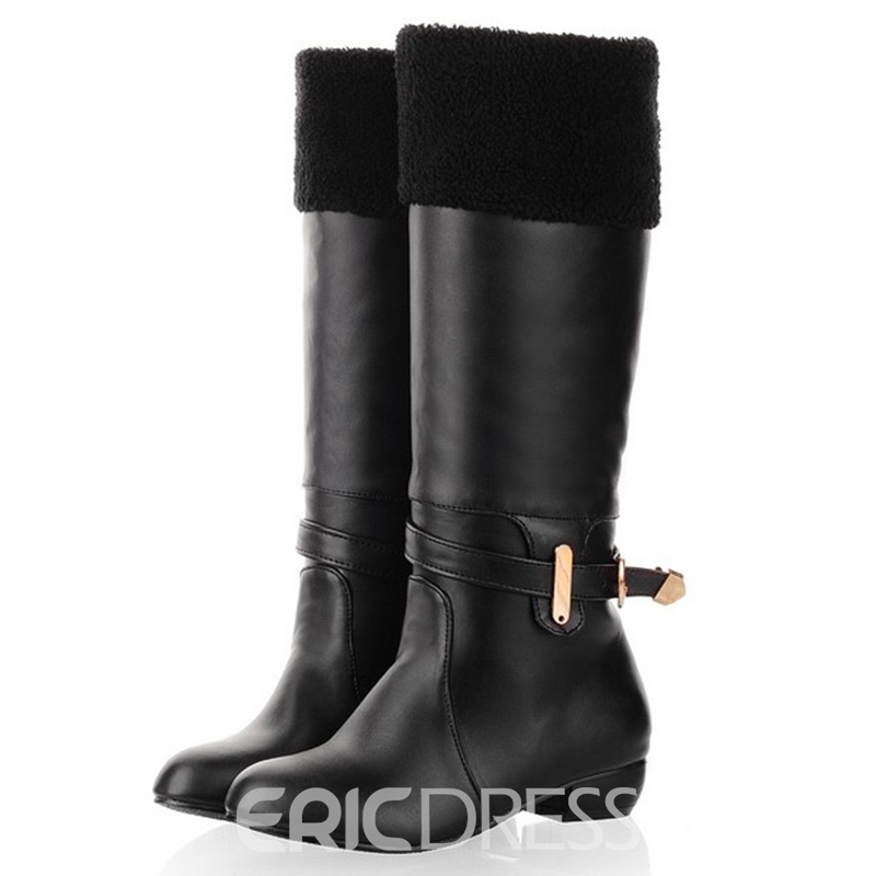 Ericdress PU Solid Color Furry Knee High Boots