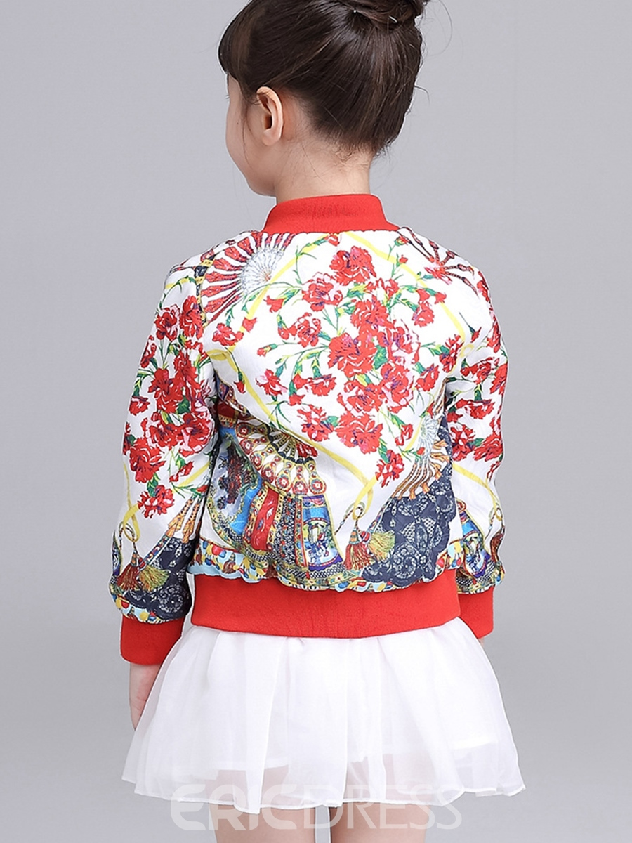 Ericdress Floral Jacquard Thread Patchwork Girls Outerwears