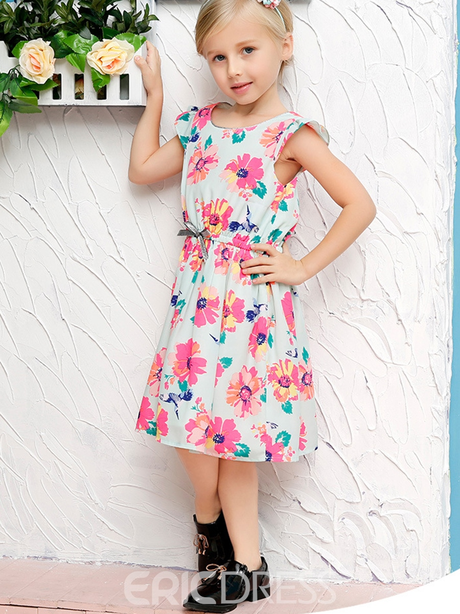 Ericdress Floral Ruffle Sleeve Belt-Tied Girls Dress