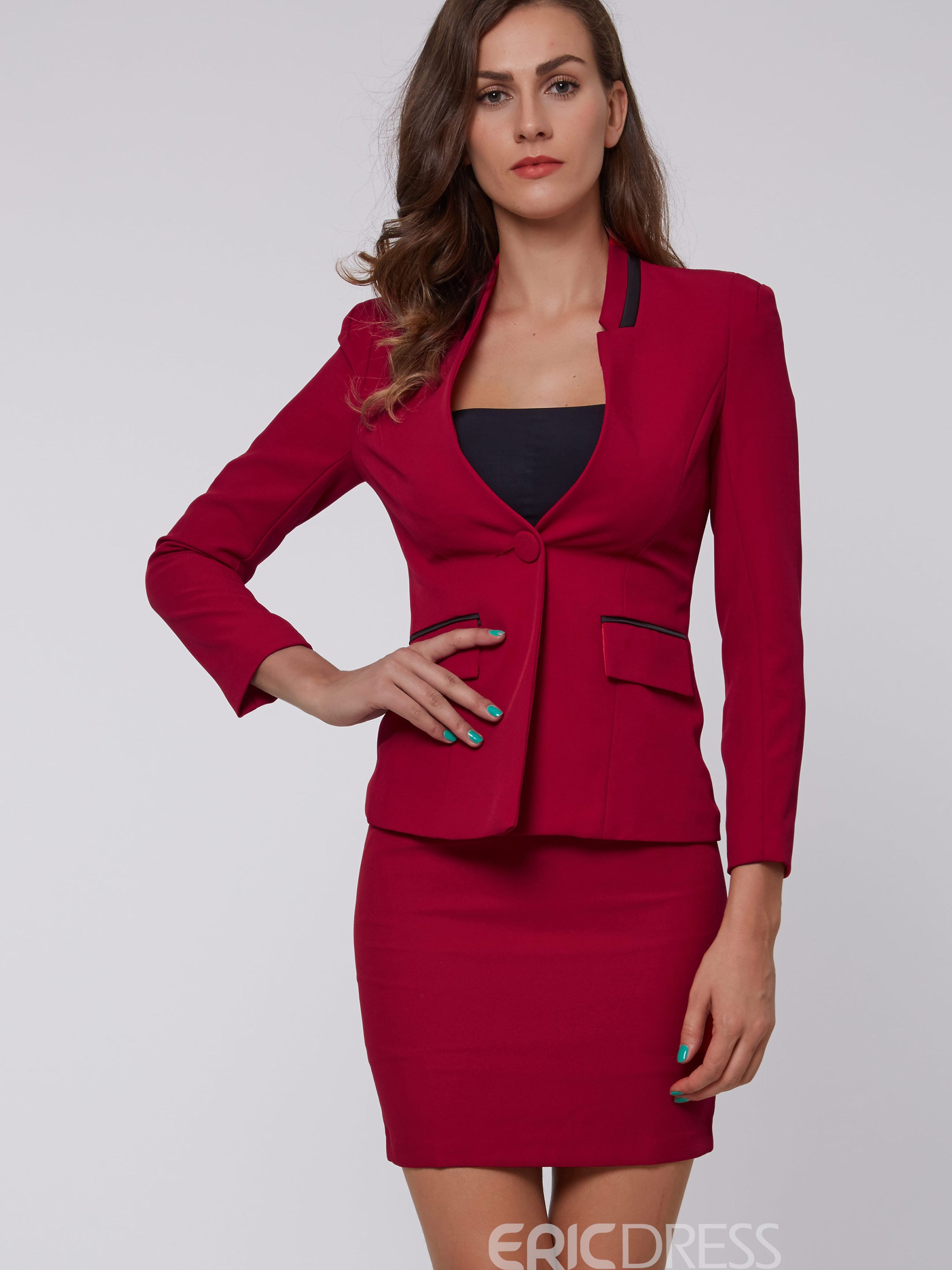 Ericdress Women S One Button Blazer And Bodycon Skirt Suit