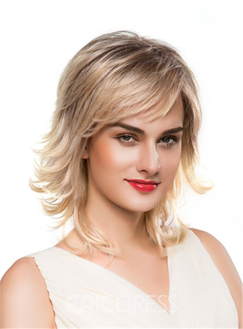 Ericdress Layered Fluffy Medium Wavy Capless Human Hair Wig 16 Inches