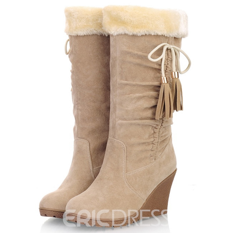 Ericdress Lovely Furry Tassels Wedge Snow Boots