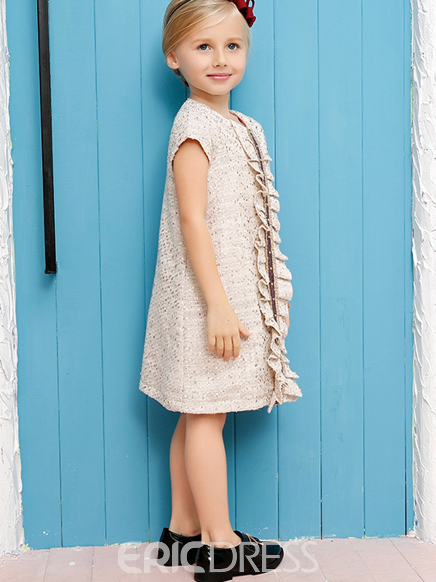 Ericdress Fold Bead Appliques Burr Girls Dress