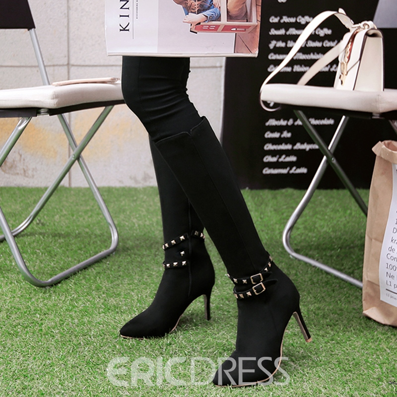 Ericdress Rivets Point Toe Side Zip Knee High Boots