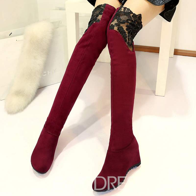 Ericdress Lace Suede Patchwork Knee High Boots