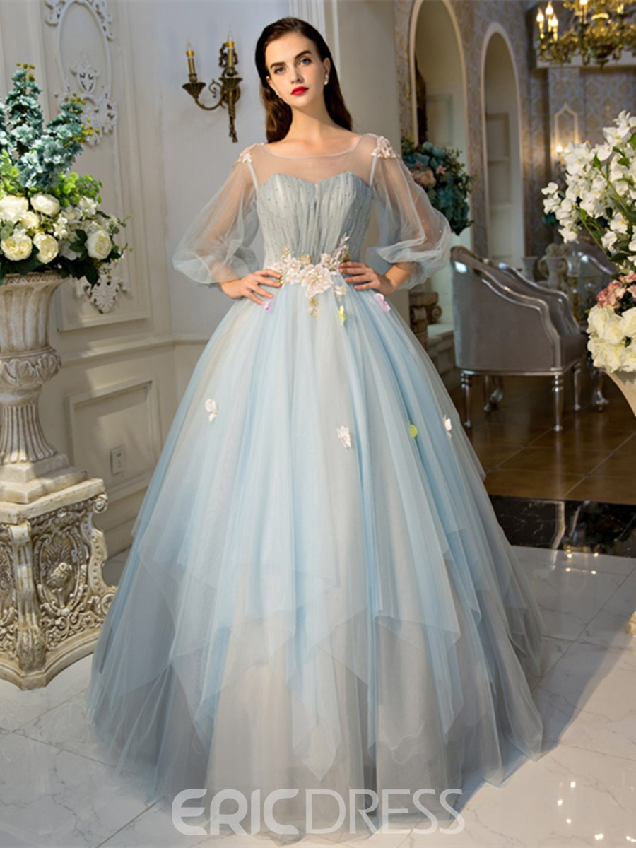 a115ce1048b Ericdress Scoop Ball Gown Long Sleeves Pearls Pleats Court Train Quinceanera  Dress