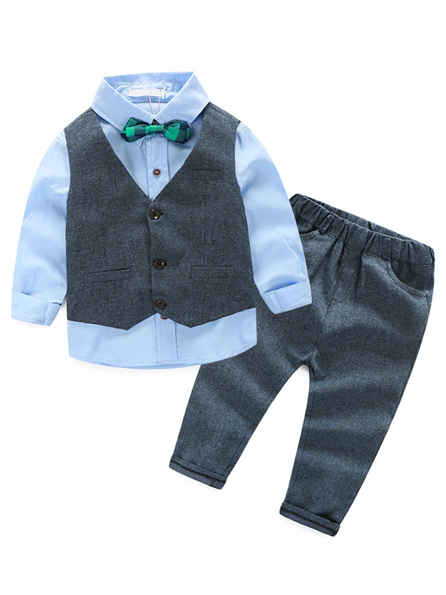 Ericdress British Style Shirt Vest Pants 3-Pcs Boys Outfits