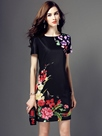 Ericdress Floral Print Short Sleeve Bodycon Dress