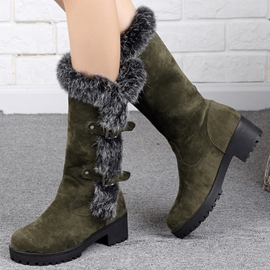 Ericdress Cool Furry & boucles bottes Knee High