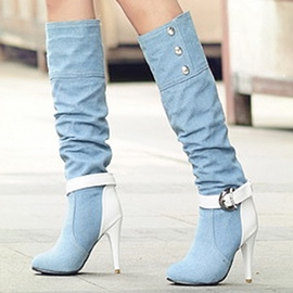 Patchwork de Denim Ericdress Knee High bottes