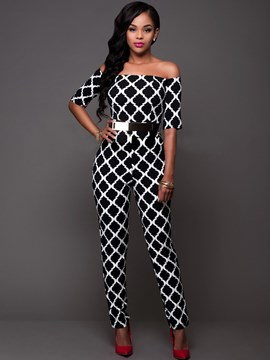 Ericdress Fashion Slash Neck Print Jumpsuits Pants