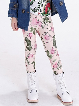 Ericdress Floral Printed Stretch Knit Leggings Girls Bottoms