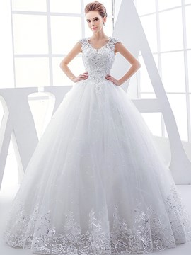 Ericdress Beautiful Appliques V Neck Ball Gown Wedding Dress
